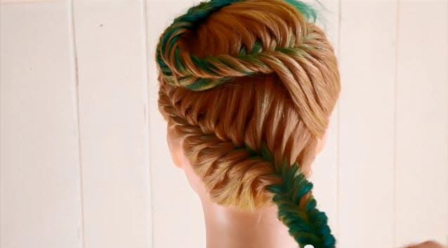 french fishtail braid updo instructions7